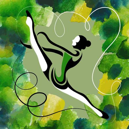 アクロバティックなスタントをやって若い細い女の子 (体操選手) の画像 (イラスト)  イラスト・ベクター素材