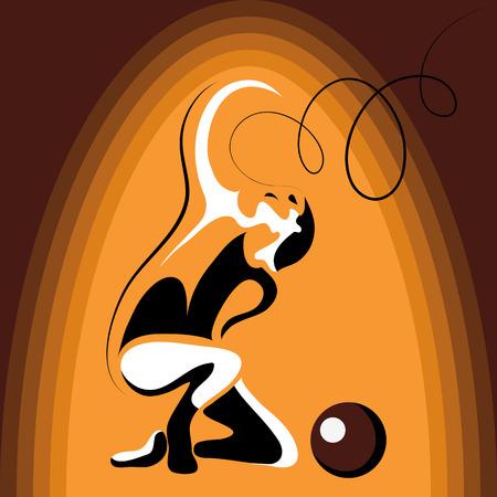 silueta humana: Imagen (ilustración) de la joven muchacha delgada (gimnasta) haciendo truco acrobático Vectores