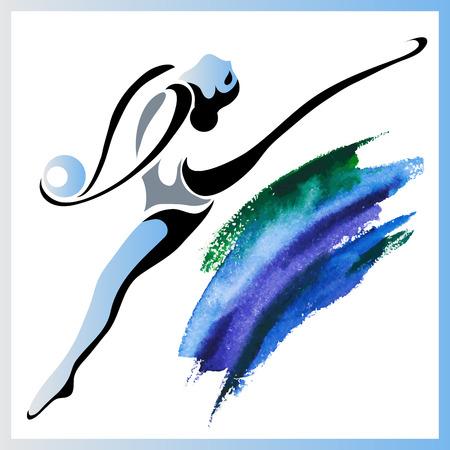 ほっそりした少女 (体操) してアクロバティックなスタントのイメージ (イラスト)