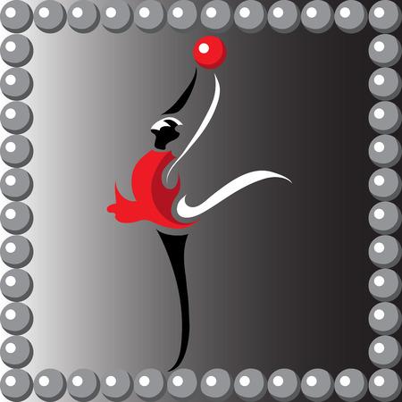 gymnast girl: Image (illustration) of young slender girl (gymnast) doing acrobatic stunt