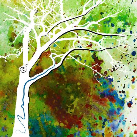 Hand-drawn fantasy watercolor tree. Vector