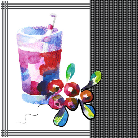 cranberry: Cranberry smoothie in watercolor style.