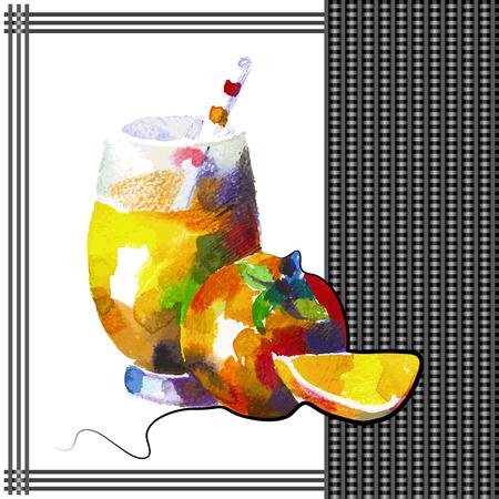 caqui: Persimmon batido no estilo da aguarela.