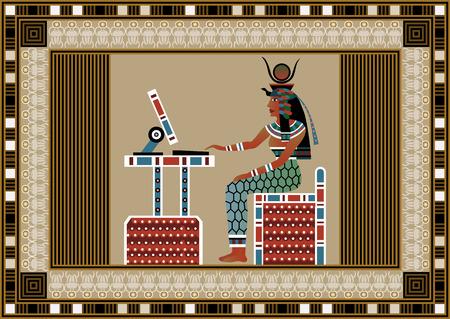 コンピューターを使用して古代エジプトの女性。エジプトの女神の孤立した人物。ベクトルの図。  イラスト・ベクター素材