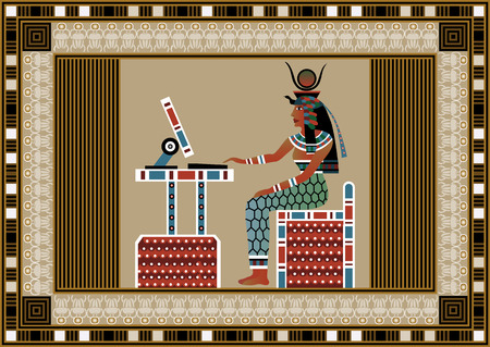 egyptian culture: Egyptian ancient woman using computer. Isolated figure of egypt goddess. Vector illustration.