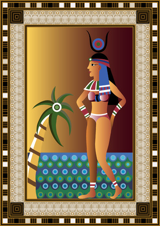 egyptian woman: Egyptian ancient woman on the beach. Isolated figure of egypt goddess. Vector illustration.