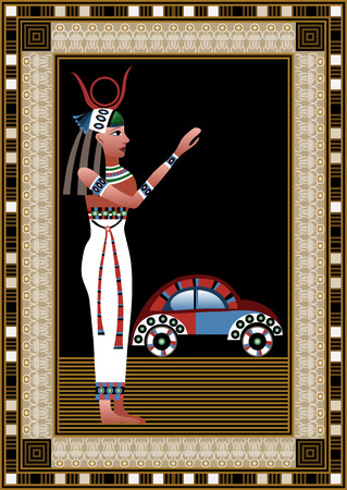 egyptian woman: Egyptian ancient woman with car. Isolated figure of egypt goddess. Vector illustration.