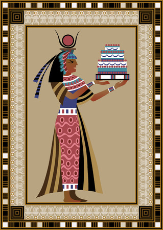egyptian woman: Egyptian ancient woman with cake. Isolated figure of egypt goddess. Vector illustration.