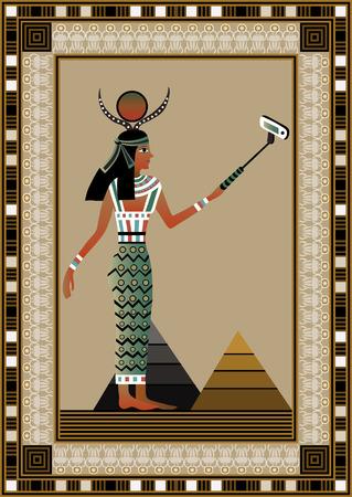 Egypt woman. Monopod selfie. Self portrait tool for smartphone. Vector illustration. Vector