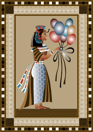 egyptian pyramids: Egyptian ancient woman with balloons. Isolated figure of egypt goddess. Vector illustration.