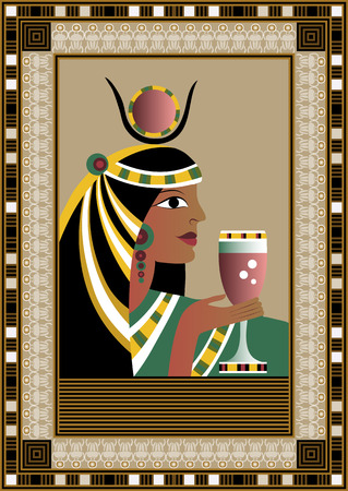 Egyptian ancient woman with beverage. Isolated figure of egypt goddess. Vector illustration. Vector