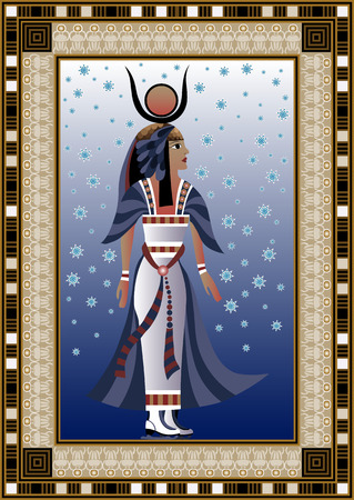 snow queen: Egyptian ancient woman in winter at the rink. Isolated figure of egypt goddess. Vector illustration.