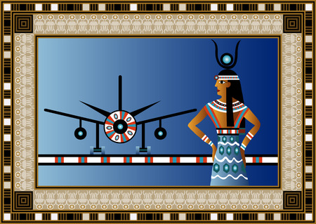 Egyptian ancient woman with plane. Isolated figure of egypt goddess. Vector illustration. Vector
