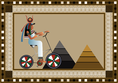egyptian culture: Egyptian ancient woman by bicycle. Isolated figure of egypt goddess. Vector illustration.