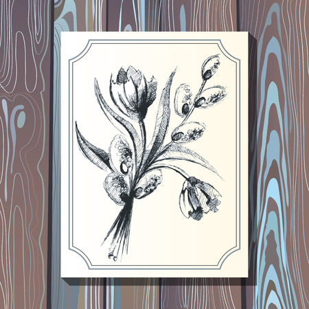 Card postcard template with floral bouquet with tulips and pussywillow on wooden background. Wedding design web and print. Vector