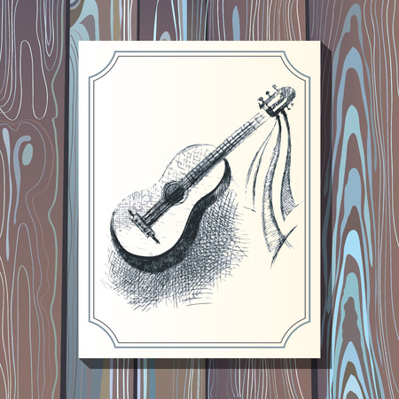 postcard template: Card postcard template with guitar on wooden background. Illustration