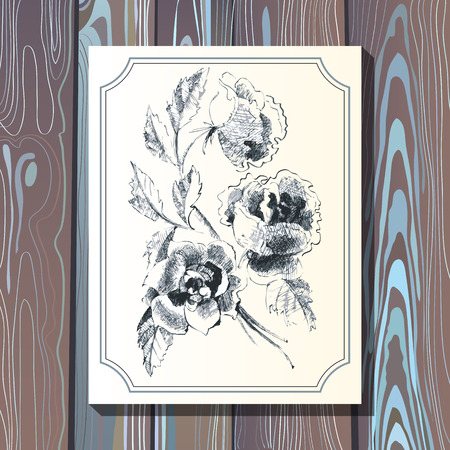 postcard background: Card postcard template with floral bouquet with roses on wooden background. Wedding design web and print. Illustration