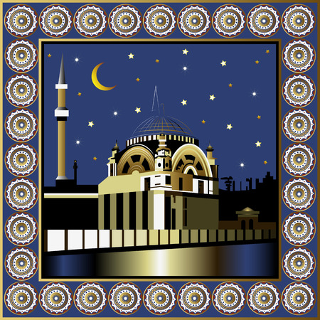 Istanbul TurkeyBosphorus. Vector illustration. Night turkish mosque poster or card. Vector