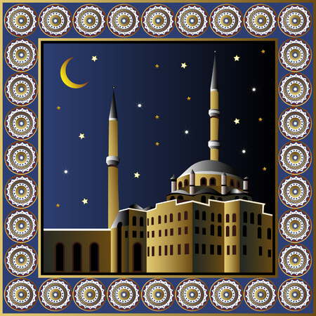 Istanbul Turkey. Vector illustration. Night turkish mosque poster or card. Vector