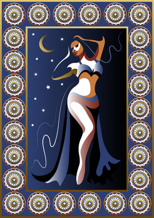 Turkey. Vector illustration. Turkish woman dancer in the night poster or card. Vector