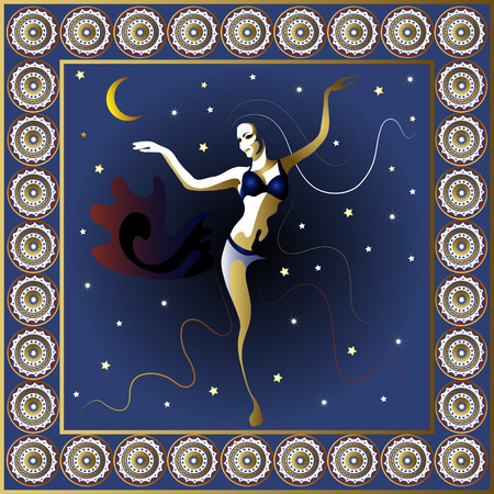 トルコ。ベクトルの図。夜のポスターやカードでトルコの女性ダンサー。