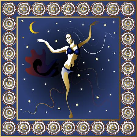 Truthahn. Vektor-Illustration. Türkische Frauentänzer in der Nacht Poster oder Postkarte. Standard-Bild - 40941526