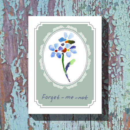 forget me not: Card template with floral element with forget-me-not on wooden background. For floral shop, wedding design, print and web