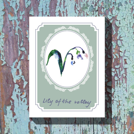 lily of the valley: Card template with floral element with lily of the valley on wooden background. For floral shop, wedding design, print and web