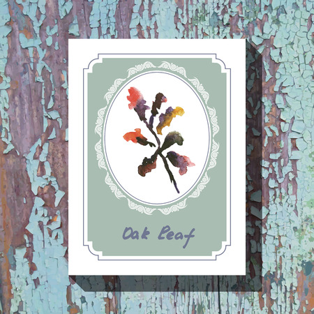 oak leaf: Card template with floral element with oak leaf on wooden background. For floral shop, wedding design, print and web