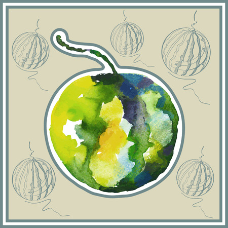 ard: Ð¡ard (postcard) with  watermelon in watercolor style. Illustration