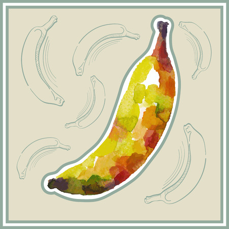 ard: Ð¡ard (postcard) with banana in watercolor style. Illustration