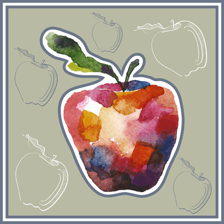 ard: Сard (postcard) with apple in watercolor style. Illustration