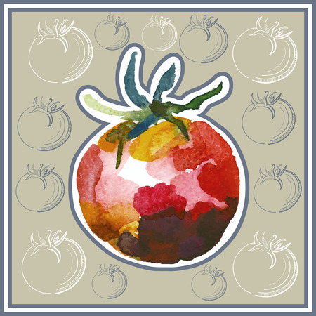 ard: Ð¡ard (postcard) with tomato in watercolor style. Illustration