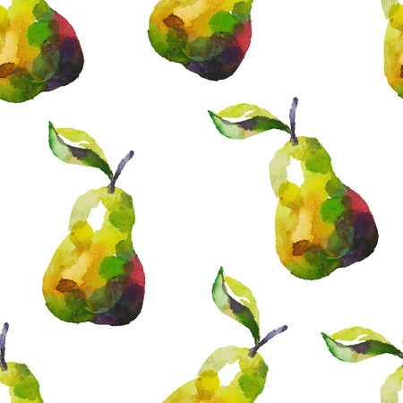 Seamless pattern with pear in watercolor style.