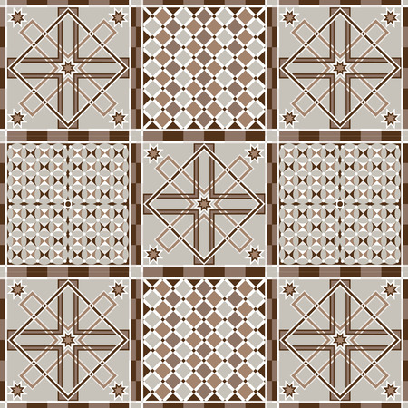 ethnical: Vector seamless patchwork background from ornaments, geometric patterns. Moroccan texture. Illustration