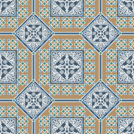 patchwork background: Vector seamless patchwork background from ornaments, geometric patterns, stylized flowers and leaves. Moroccan texture.