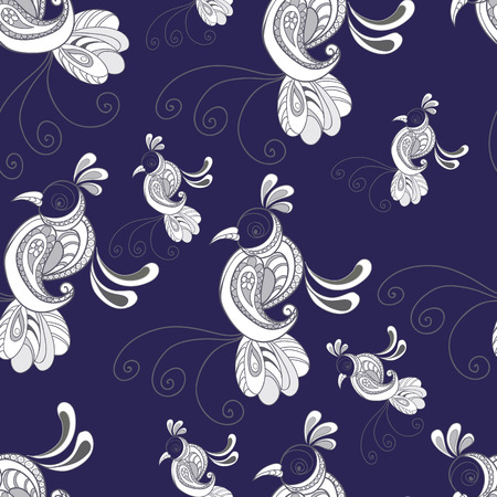 curly tail: Seamless abstract pattern (background) with birds  silhouette.