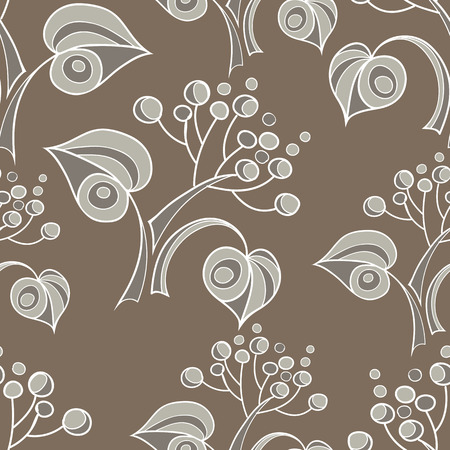 linden: Seamless stylized abstract pattern (background) with linden  leaves silhouette.  Texture with branches.