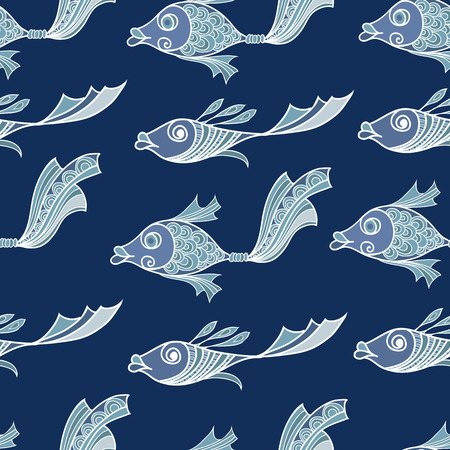 curly tail: Seamless stylized abstract pattern (background) with fish silhouette.  Texture with  fish. Illustration