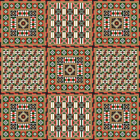 Geometrical abstract pattern from decorative ethnic ornament elements .  African, Mexican, Turkmen texture (background) for packing, textile, interior, web design.