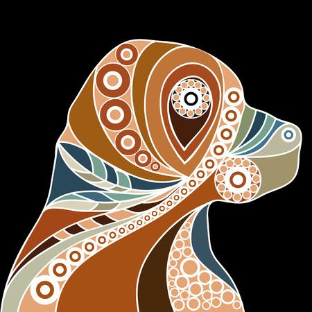 perro caricatura: Perfil patrón estilizada étnica de perro. Diseño floral. Vector para la impresión, web, cartel, la camiseta.