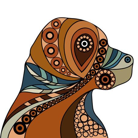 民族には、犬のパターン化されたプロファイルが様式化されました。 花柄のデザイン。印刷、web、ポスター、t シャツのベクトル。