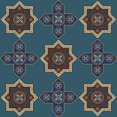 blumen abstrakt: Floral abstract seamless pattern from decorative ethnic ornament elements
