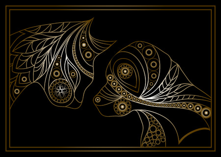 Ethnic stylized patterned profiles of dog  and cat.  Floral design. Vector for print, web,  poster, t-shirt.