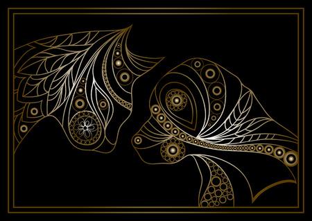 Ethnische stilisierte gemusterten Profile von Hund und Katze. Blumendesign. Vektor für Print, Web, Poster, T-Shirt. Standard-Bild - 44350311
