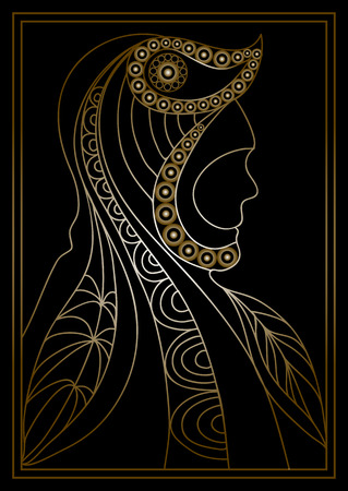 persona: Gold stylized patterned profile of man.  Floral design. Vector for print, web,  poster, t-shirt. Illustration