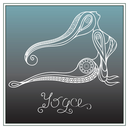 tantra: Stylized patterned woman in yoga pose .  Floral and sport design. Vector for print, web, poster, t-shirt.