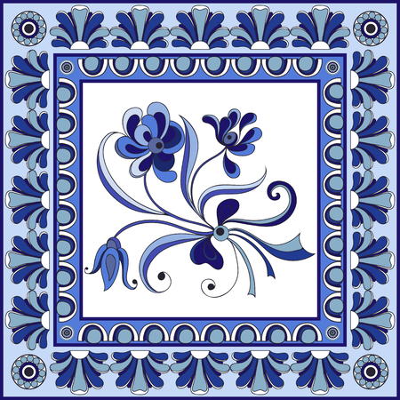 majolica: Abstract floral pattern from decorative ornament elements . Portuguese texture (background) with flowers for packing, textile, interior, web design.