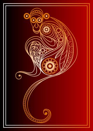 fogatas: Ilustraci�n del vector del mono fuego, s�mbolo de 2016. Silueta de mono, decorado con estampado de flores. Elemento de vector para el dise�o de A�o Nuevo.