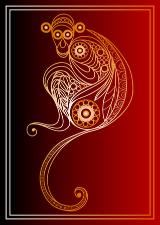 monkey: Vector illustration of fire monkey, symbol of 2016. Silhouette of ape, decorated with floral pattern. Vector element for New Years design. Illustration